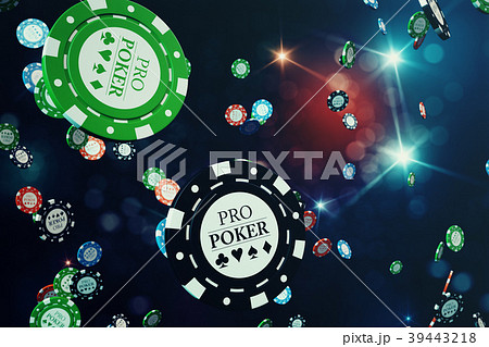 3D illustration Falling casino chips with shiny 39443218