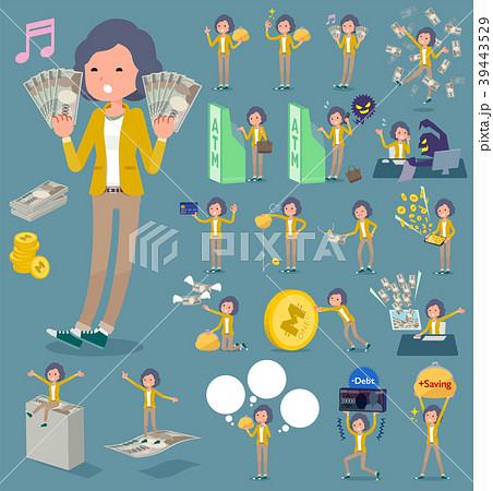 flat type Yellow jacket Middle women_money 39443529