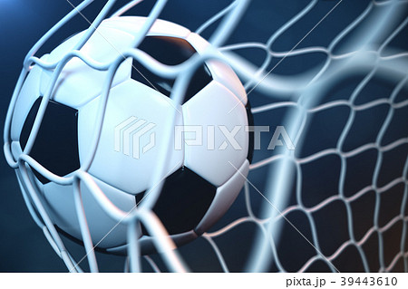 3d rendering soccer ball in goal. Soccer ball in 39443610