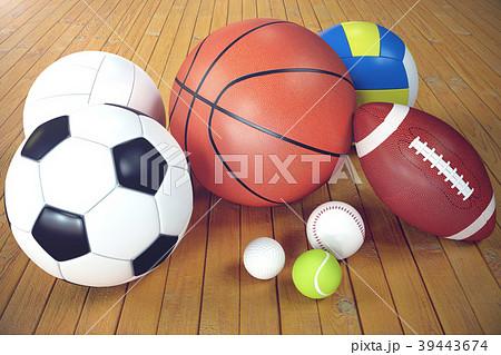 3d rendering sport balls on wooden backgorund. Set 39443674