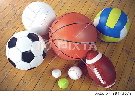 3d rendering sport balls on wooden backgorund. Set 39443678