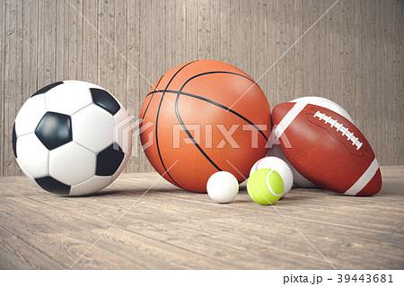 3d rendering sport balls on wooden backgorund. Set 39443681