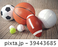 3d rendering sport balls on wooden backgorund. Set 39443685