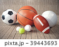 3d rendering sport balls on wooden backgorund. Set 39443693