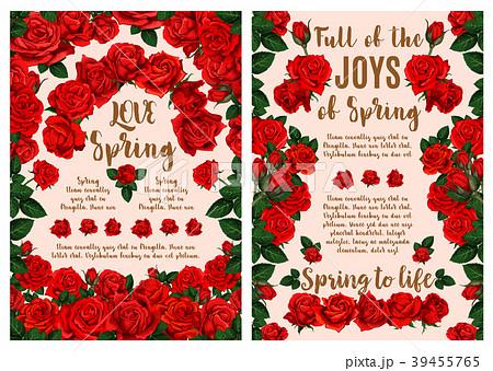 Rose flower greeting card for Spring Season design 39455765