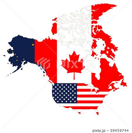 北米地図と国旗のイラスト素材 [39459744] - PIXTA