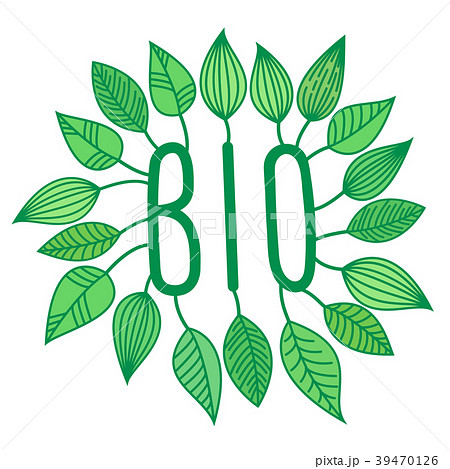 Green bio sign in with growing leaves, vector 39470126