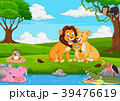 Cartoon lion family in the jungle 39476619
