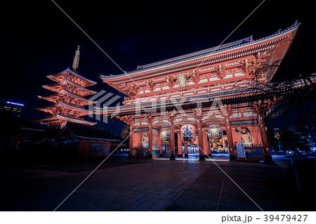 浅草浅草寺 夜の宝蔵門 39479427