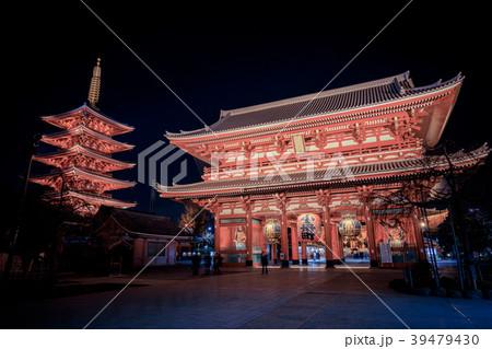 浅草浅草寺 夜の宝蔵門 39479430