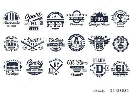 Sport club logo design set, baseball retro emblem 39483686