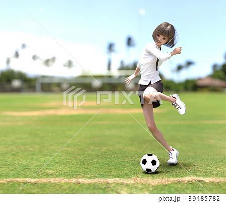 サッカーする女子学生 perming3DCG イラスト素材 39485782