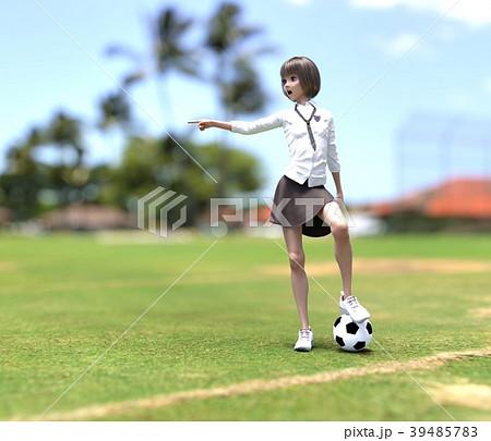 サッカーする女子学生 perming3DCG イラスト素材 39485783