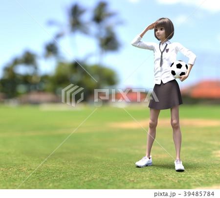 サッカーする女子学生 perming3DCG イラスト素材 39485784