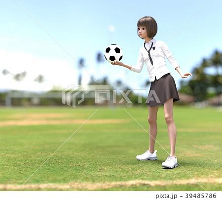 サッカーする女子学生 perming3DCG イラスト素材 39485786