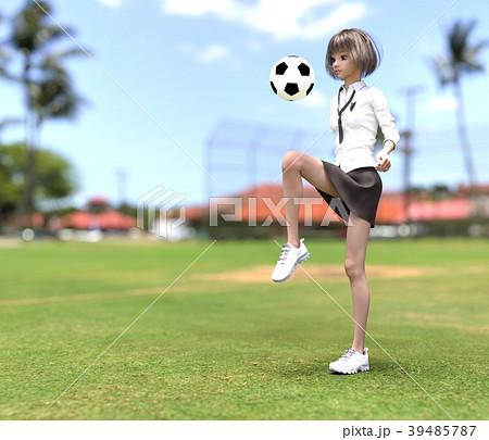 サッカーする女子学生 perming3DCG イラスト素材 39485787
