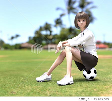 サッカーする女子学生 perming3DCG イラスト素材 39485789