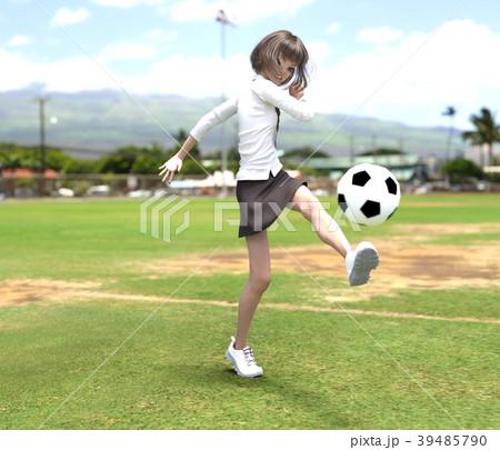 サッカーする女子学生 perming3DCG イラスト素材 39485790