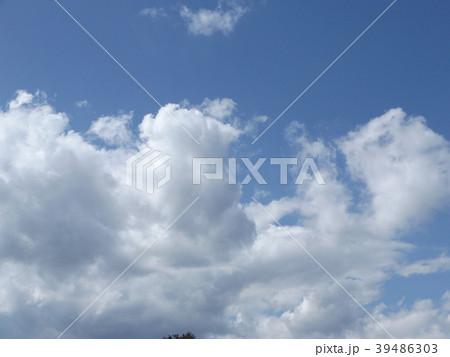 草野水路脇の道路からの青空とと白い雲 39486303