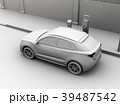 路肩駐車中の電動SUVが急速充電しているクレイレンダリングイメージ 39487542