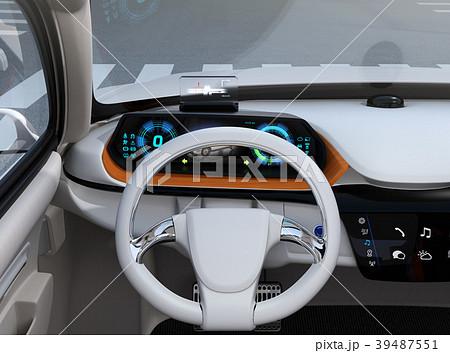 ヘッドアップディスプレイがある電動SUVのダッシュボードのイメージ 39487551