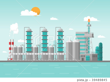 Industrial factory in the sea on flat style.  39489845