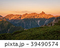 モルゲンロート 蝶ヶ岳から槍ヶ岳方面の展望  39490574