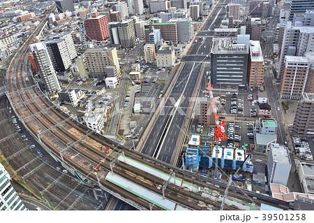 仙台市遠望 仙台駅付近より東方を俯瞰 広瀬通東と新幹線・東北本線 39501258
