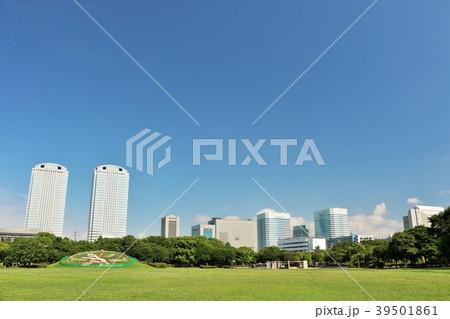 青空の公園とビル群の風景 39501861
