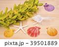 木のテーブルの上の洋蘭と貝殻 39501889