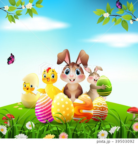 Easter Bunny with baby chicks and duckling on a me 39503092
