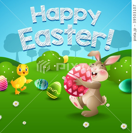 Easter bunny and eggs with little duck in field 39503107