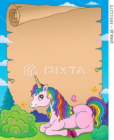 Parchment with lying unicorn theme 1 39511275