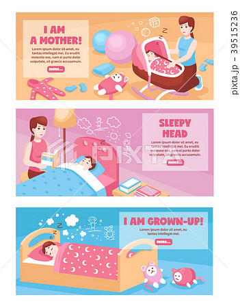 baby sleep bannersのイラスト素材 39515236 pixta