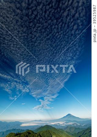 朝の丹沢・塔ノ岳から望む富士山と巻雲 39525987