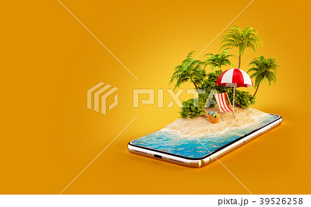 Unusual 3d illustration of a tropical island 39526258