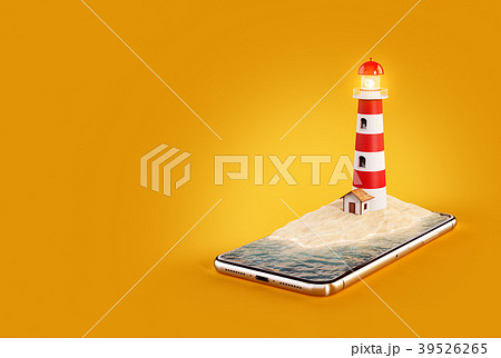 Unusual 3d illustration of a Lighthouse  39526265