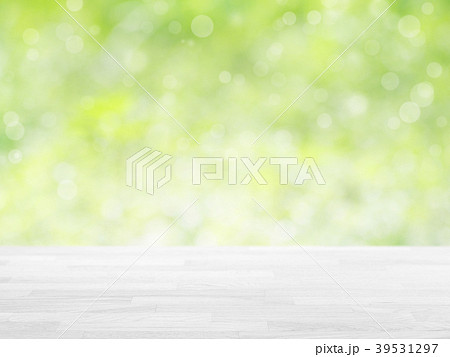 wood table top on green bokeh abstract background 39531297