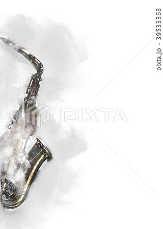 saxophone on watercolor painting background. 39533363