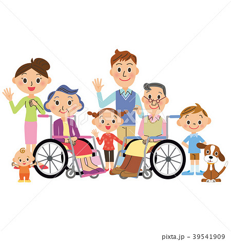 車椅子の老夫婦と三世代家族 39541909