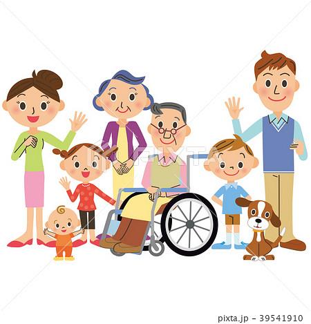 車椅子のおじいちゃんと三世代家族 39541910