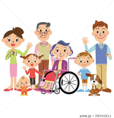 車椅子のおばあちゃんと三世代家族 39541911