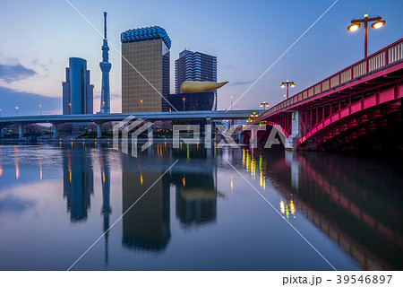 skyline of tokyo city by the river at dawn 39546897