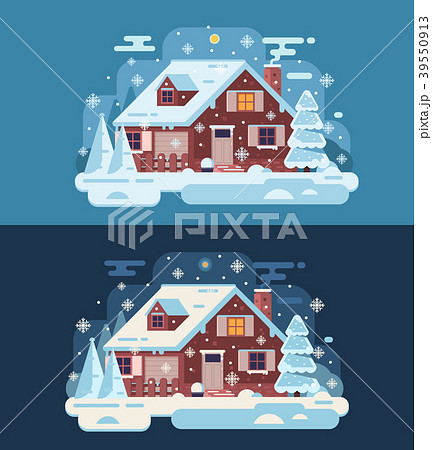 Winter Country House with Chimney 39550913