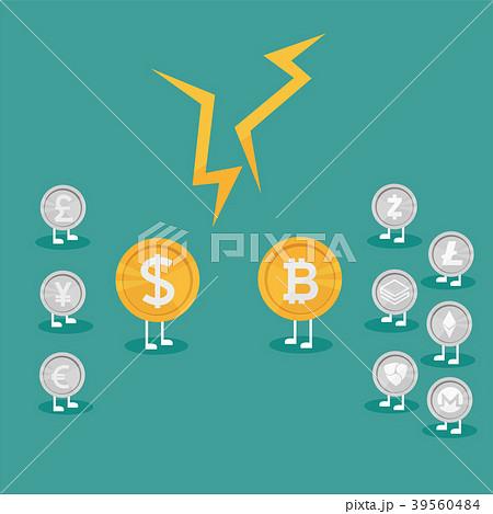 Real money vs Bitcoin virtual money. Crypto 39560484