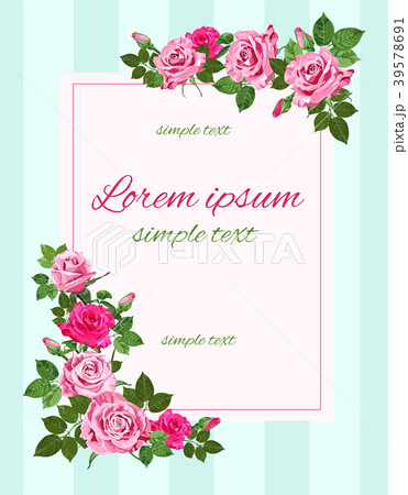 vector retro wedding invitations with pink rosesのイラスト素材