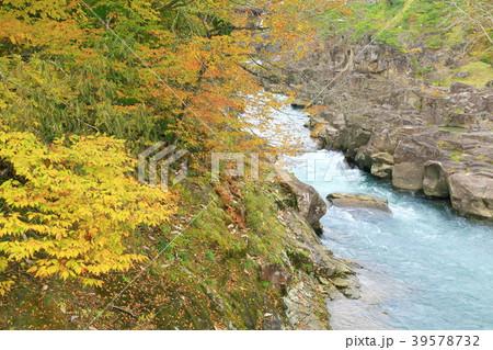 岩手県 厳美渓 紅葉景色 39578732