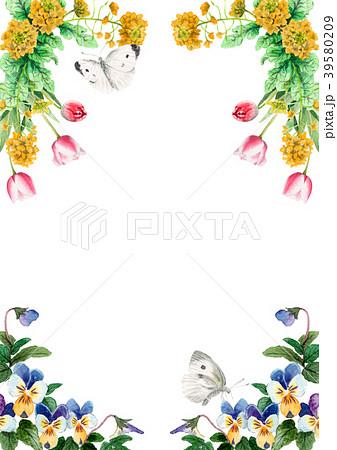 水彩で描いた春の花のフレーム素材 39580209