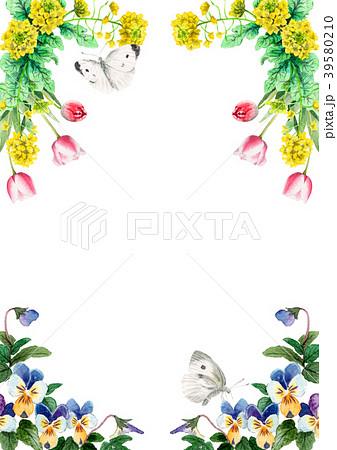 水彩で描いた春の花のフレーム素材 39580210