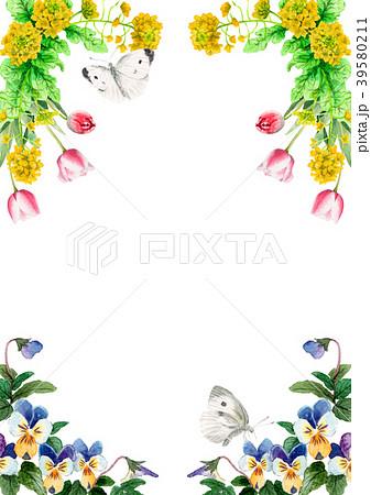 水彩で描いた春の花のフレーム素材 39580211